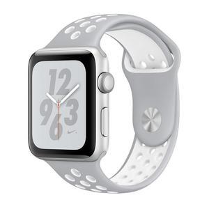 Apple Watch (Series 4) Septembre 2018 44 mm - Aluminium Argent - Bracelet Sport Nike Blanc/Gris