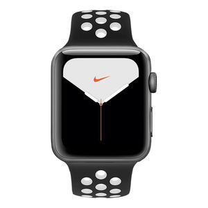 Apple Watch (Series 5) Septembre 2019 44 mm - Aluminium Gris sidéral - Bracelet Sport Nike Noir/Blanc