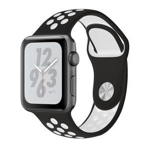 Apple Watch (Series 4) Septembre 2018 40 mm - Aluminium Gris sidéral - Bracelet Sport Nike Noir/Blanc