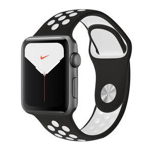 Apple Watch (Series 5) Septembre 2019 40 mm - Aluminium Gris sidéral - Bracelet Sport Nike Noir/Blanc