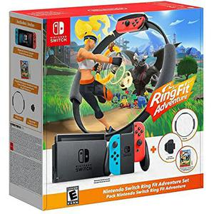 Consoles Nintendo Switch 32 Go + Ring Fit Adventure + 2 manettes - Rouge/Bleu
