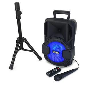 """Enceintes sono Party Sound & Light Enceinte autonome mobile 8""""/20cm à led - 300W - USB/BT/SD avec support trépied + Micro + télécommande"""