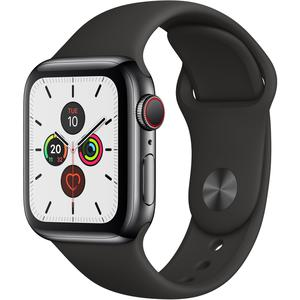 Apple Watch (Series 5) Septembre 2019 40 mm - Acier inoxydable Noir - Bracelet Sport Noir
