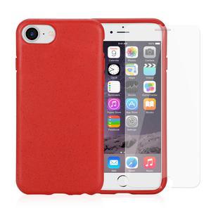 Coque et 2 écrans de protection iPhone 6/6S/7/8/SE (2020) - Compostable - Rouge