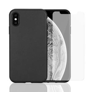Pack Coque Compostable iPhone X/XS Noir, fabriquée à partir de plantes + 2 Verres Trempés