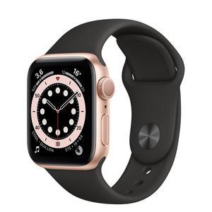 Apple Watch (Series 5) September 2019 44 mm - Aluminium Goud - Armband Sport armband Zwart
