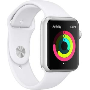 Apple Watch (Series 3) Septembre 2017 42 mm - Aluminium Argent - Bracelet Sport Blanc