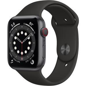 Apple Watch (Series 6) September 2020 44 mm - Aluminium Space Grau - Armband Sportarmband Schwarz