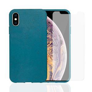 Hülle und 2 Schutzfolie iPhone X/XS - Kompostierbar - Blau