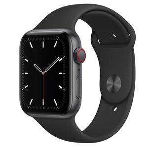 Apple Watch (Series SE) September 2020 44 mm - Aluminium Space Grau - Armband Sportarmband Schwarz