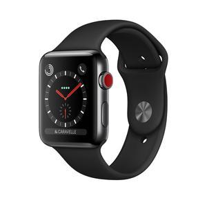 Apple Watch (Series 3) 2017 42 mm - Rostfreier Stahl Schwarz - Armband Sportarmband Schwarz