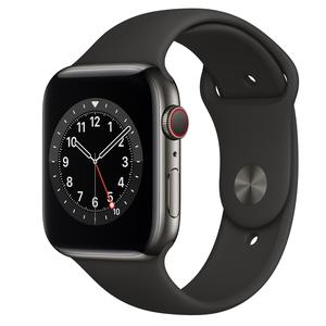 Apple Watch (Series 6) Setembro 2020 44 - Aço inoxidável Grafite - Circuito desportivo Preto