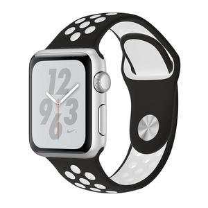 Apple Watch (Series 4) Septembre 2018 40 mm - Aluminium Argent - Bracelet Sport Nike Noir/Blanc
